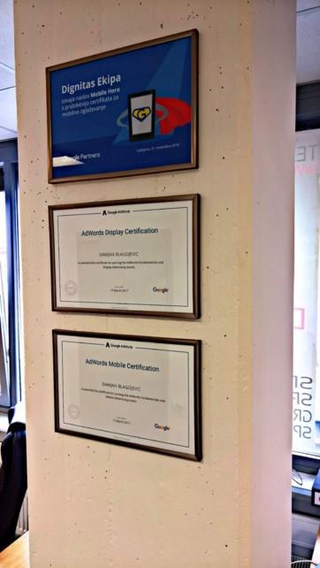 Google AdWords oglaševanje - certifikati